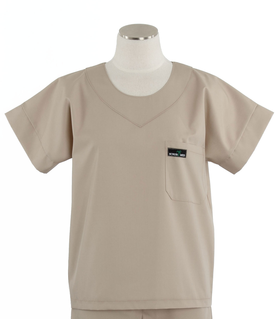 91d45a285bc Scrub Med Womens Solid Scrub Top Khaki - Scrub Med