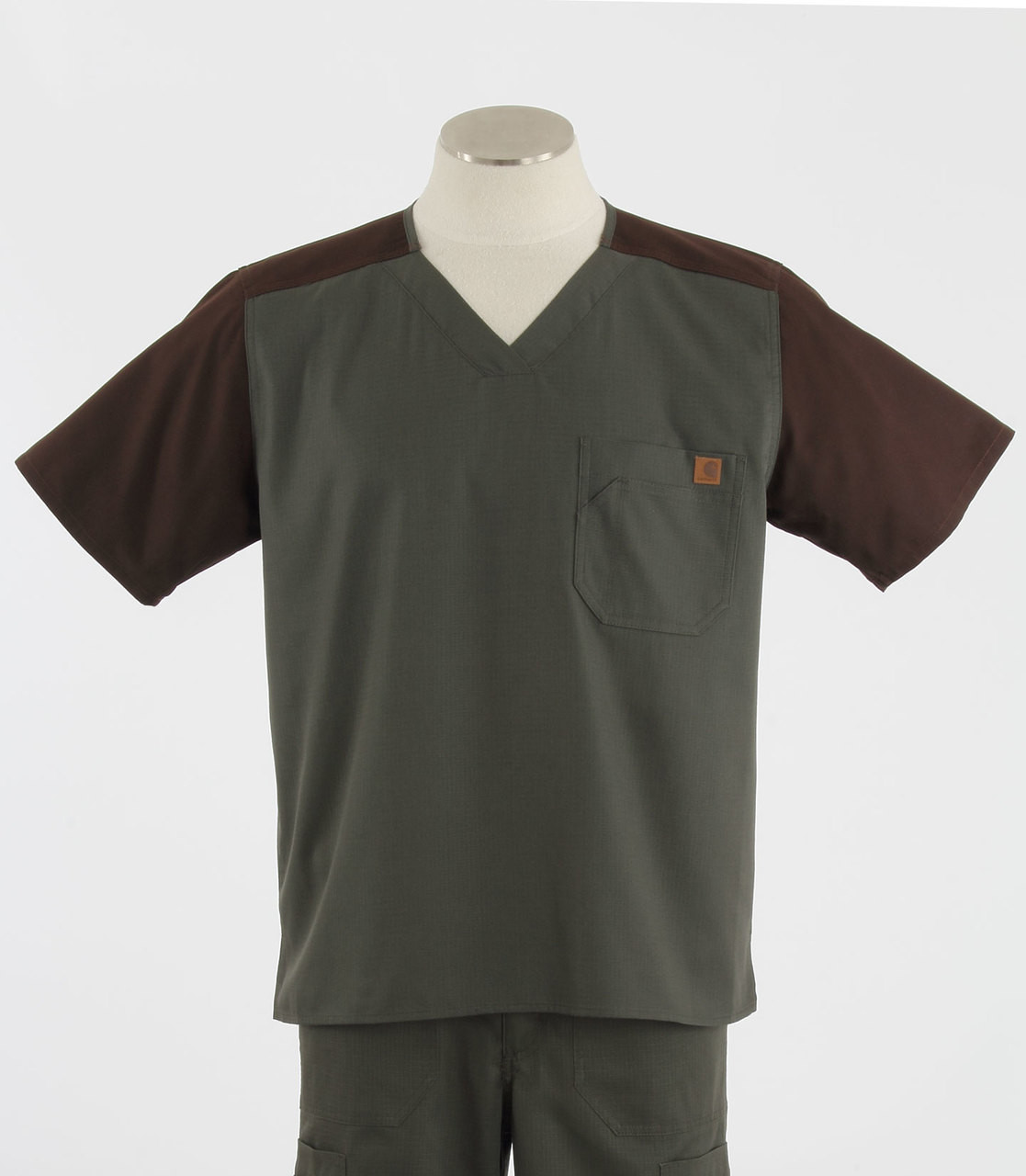 21a612b373c Carhartt Mens Scrub Top with Color Block Olive/Chocolate