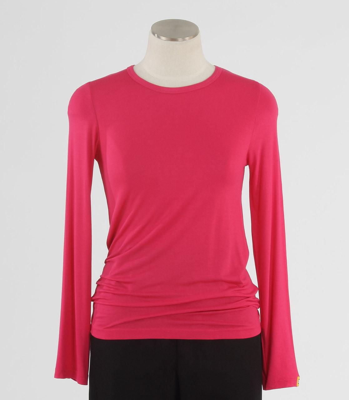 0a04d883d4f WonderWink Womens Silky Long Sleeve Tee Hot Pink - Scrub Med