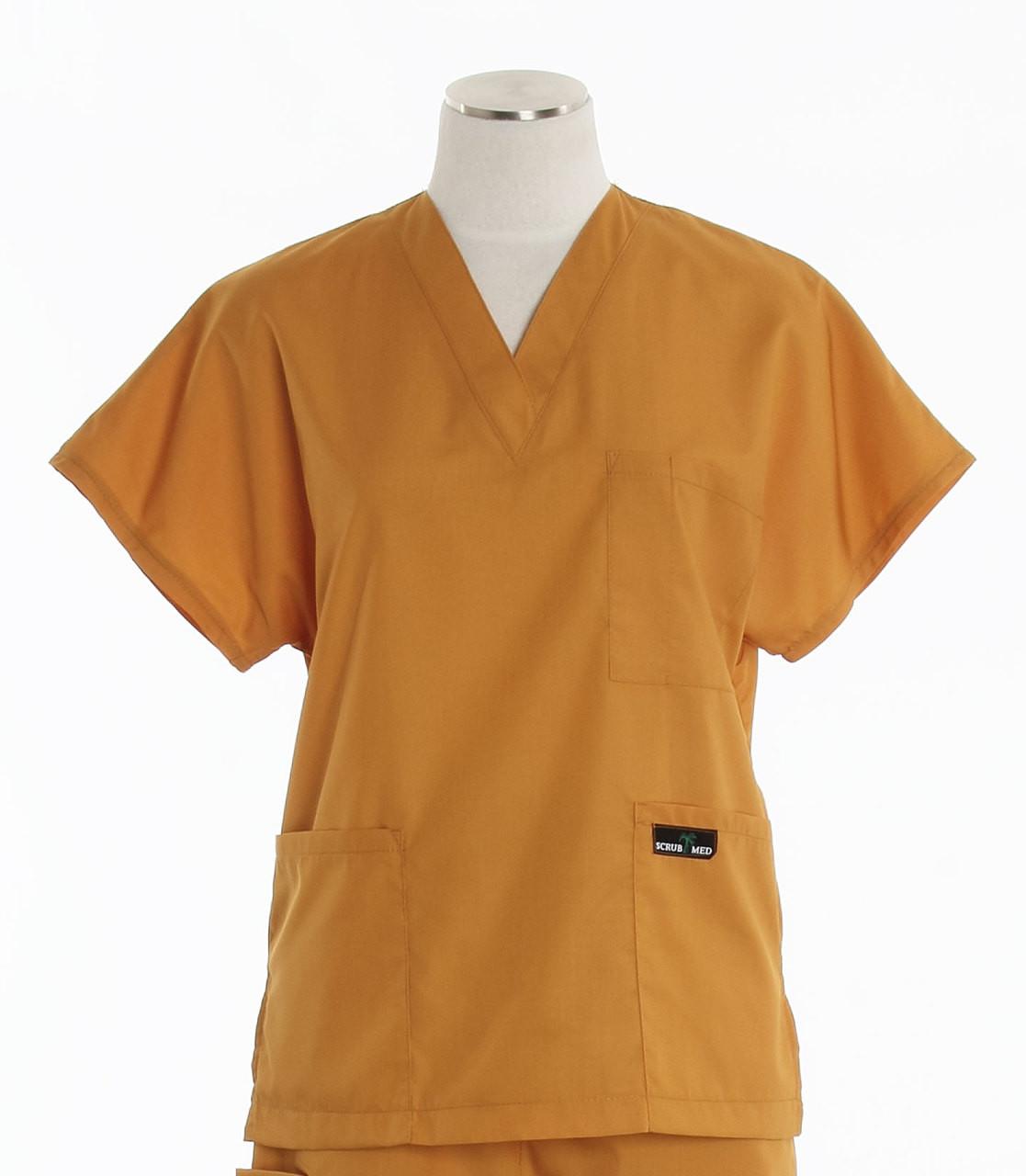 2a8e3fe7643 Scrub Med Womens Solid V-Poc Scrub Top Pumpkin (ScrubLite ...