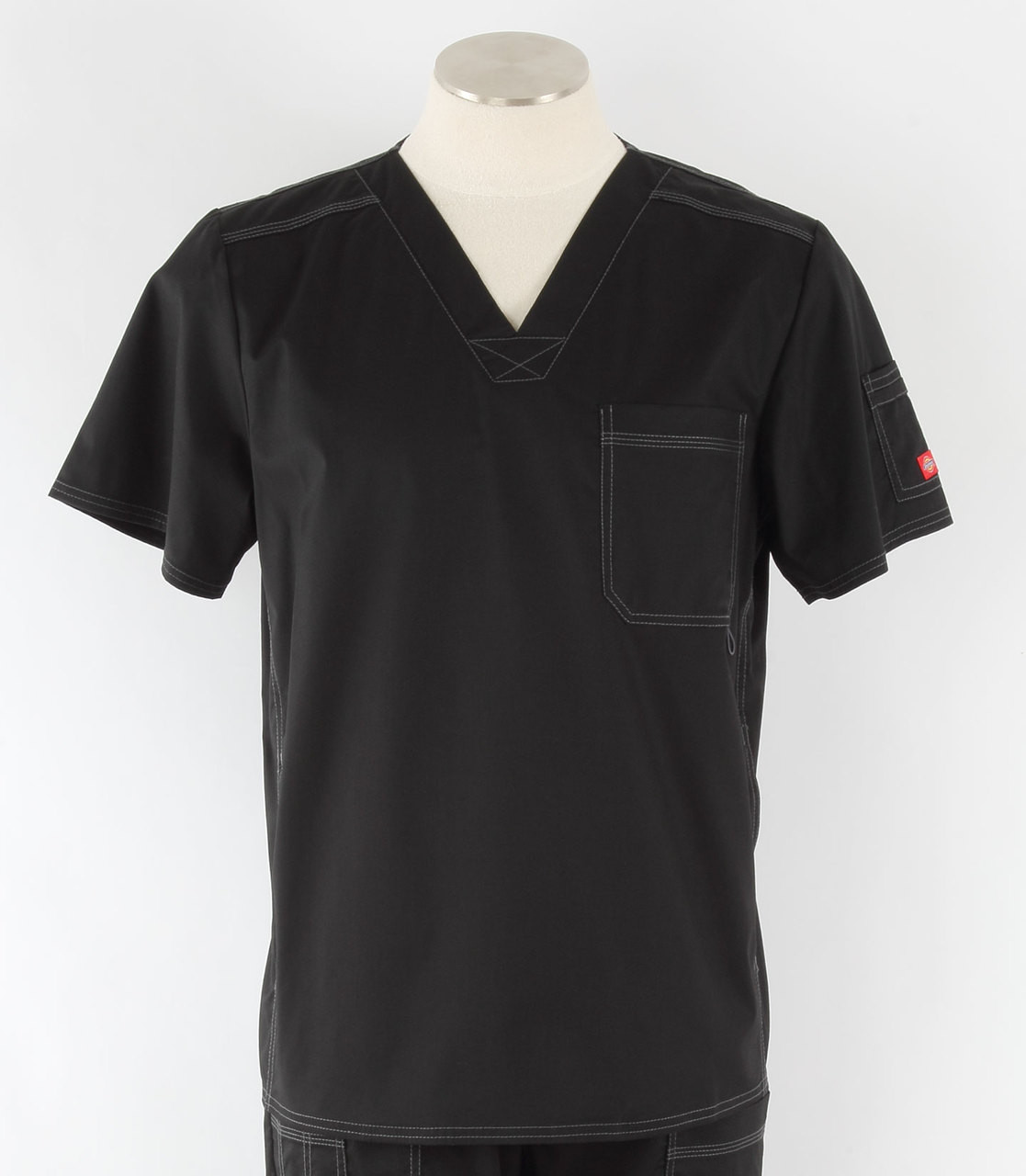 1a69a81ef93 Dickies Gen Flex Mens V-Neck Scrub Top Black - Scrub Med