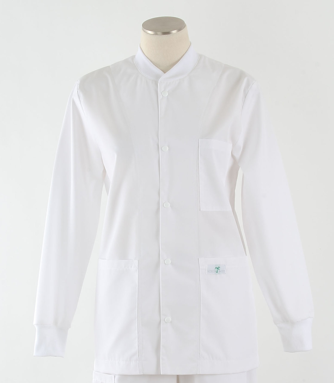 9aac18cfef9aac Scrub Med Womens Solid Crew Neck Lab Jacket White - Scrub Med