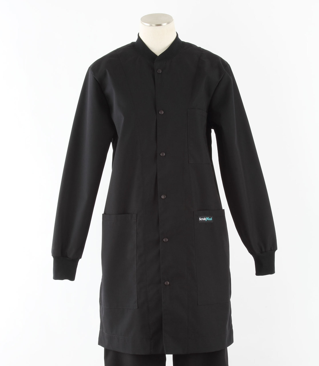 a786bed0e34038 scrub med womens black crew neck lab coat