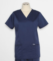 Cherokee Workwear Revolution Womens V-Neck Scrub Top Navy - style WW620