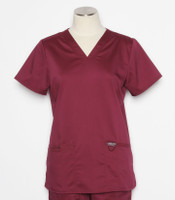 Cherokee Workwear Revolution Womens V-Neck Scrub Top Wine - style WW620