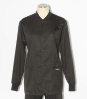 Scrub Med solid black stretch crew neck lab jacket