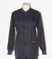 Scrub Med solid navy indigo stretch crew neck lab jacket