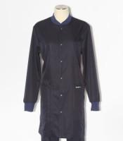 scrub med womens navy indigo stretch crew neck lab coat