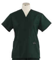 Scrub Med Womens Solid V-Poc Scrub Top Forest Green