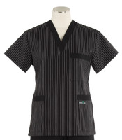 Scrub Med womens v-poc scrub top stripe with black