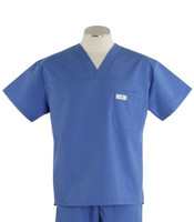scrub med mens v-neck scrub top bimini blue