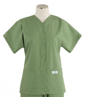 scrub med womens baseball scrub top bay leaf