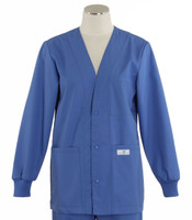 Scrub Med womens v-neck lab jacket bimini blue