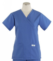 Scrub Med Womens Demi Wrap Scrub Top Solid Bimini Blue