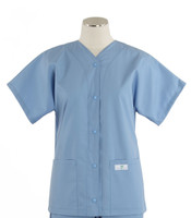 Scrub Med Womens Solid Baseball Scrub Top Celestial Blue