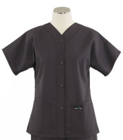 Scrub Med Womens Solid Baseball Scrub Top Charcoal