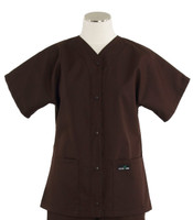 Scrub Med womens baseball scrub top dark chocolate