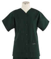 Scrub Med womens baseball scrub top forest green