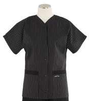 Scrub Med Womens Solid Baseball Scrub Top Stripe with Black