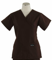 Scrub Med Womens Demi Wrap Scrub Top Solid Dark Chocolate