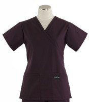 Scrub Med Womens Demi Wrap Scrub Top Solid Eggplant