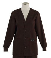 Scrub Med Womens Solid V-Neck Lab Jacket Dark Chocolate