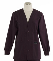 Scrub Med womens v-neck lab jacket eggplant
