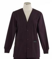 Scrub Med womens v-neck lab jacket eggplant