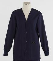 Scrub Med Womens Solid V-Neck Lab Jacket Navy