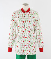 Scrub Med womens crew neck lab jacket jingle bell