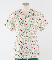 Scrub Med womens v-poc print scrub top on sale jingle bells