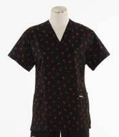 Scrub Med womens v-poc scrub top pumpkin party