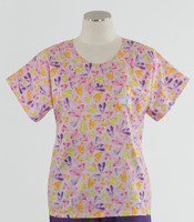 Scrub Med womens print scrub top light hearted