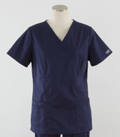 Cherokee Workwear Womens Mock Wrap Scrub Top Navy