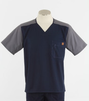 Carhartt Mens Scrub Top with Color Block Navy/Pewter