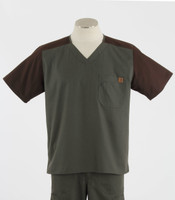 Carhartt Mens Scrub Top with Color Block Olive/Chocolate