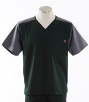 Carhartt Mens Scrub Top with Color Block Hunter/Pewter