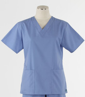 Maevn Womens Fit 2 Pocket V Neck Scrub Top Ceil Blue