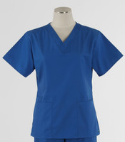 Maevn Womens Fit 2 Pocket V Neck Scrub Top Royal