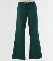 Maevn Womens Fit Drawstring w/ Back Elastic Flare Leg Scrub Pant Hunter Green - Petite