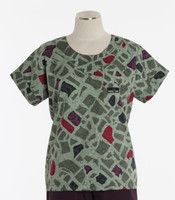 Scrub Med Womens Print Scrub Top City Blocks - Original Price: $31.00 - ALL SALES FINAL!