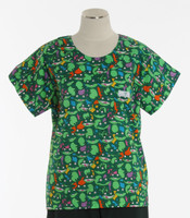 Scrub Med discount print scrub top hop to it