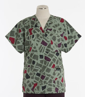 Scrub Med v-poc discount print scrub top city blocks