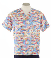 Scrub Med Mens Print Scrub Top Flamingos