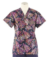 Scrub Med womens v-poc prints scrub top nocturnal ferns