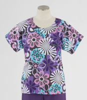 Scrub Med discount print scrub top flower shower