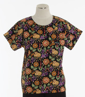 Scrub Med Womens Print Scrub Top Garden Cat - Original Price: $31.00 - ALL SALES FINAL!