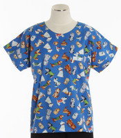 Scrub Med Womens Print Scrub Top Doggie Daycare - Original Price: $31.00 - ALL SALES FINAL!