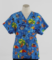 Scrub Med v-poc discount print scrub top raining cats and dogs