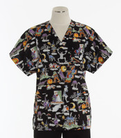 Scrub Med v-poc discount print scrub top the goodies